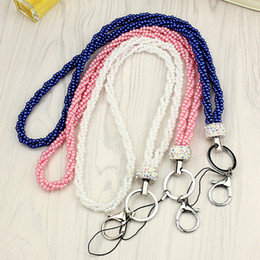 Wholesale Lanyard Drive - Women's Imitation Pearl Beads Long Neck Lanyard Keyring for USB Flash Drives  Camera  Cell Phone  Keys Keychains  ID Name Tag Badge Holders