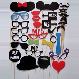 Wholesale Wedding Photobooth Props - Photo Booth Props 31 Pcs lot Photobooth For Wedding Birthday Party Photo Booth Props Glasses Mustache Lip On A Stick