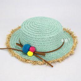 Wholesale Beach Retail - Wholesale 5 pcs Retail Girls Straw Beach Sun Hats Kids Small Ball Decoration Spring Summer Sun Protective Caps MZ4559