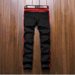 Wholesale Tr Jeans - New brand tr style men biker jeans with zippers black white red true winter hombre jeans pants free shipping