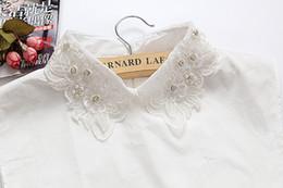 Wholesale White Blouse Peter Pan Collar - Korea blouse fake collar handmade beaded collar white shirt collar false Half Shirt Tops Peter Pan Blouse Detachable Collars
