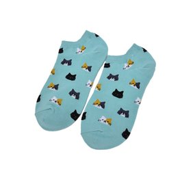 Wholesale Women Solid Color Crew Socks - Wholesale- 1 Pairs Women Funny Socks Casual Boat Low Cut Summer Style Candy Color Funny Cute Cats Faces Short Ankle Socks Crew Hot New
