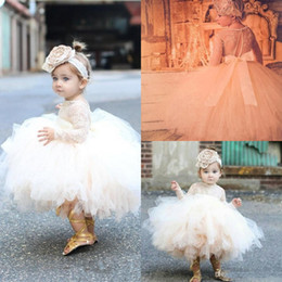 Wholesale Pageant Girl Clothes - 2017 New Cute Girl's Pageant Dresses Toddler Pageant Clothes Long sleeves Lace Tutu Dresses Ball Gowns Puffy Flower Girls Dresses