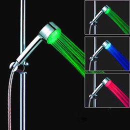 Wholesale Hand Shower Led Light - Free shipping Bathroom LED Hand Shower Temperature Sensor RGB Colorful Color Automatic Change LED light Round Rain Shower with retail box