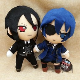 "Wholesale Black Butler Ciel Toy - Wholesale- 2styles anime Kuroshitsuji Black Butler Sebastian Michaelis   Ciel Phantomhive 10"" 25cm soft plush doll stuffed toy"