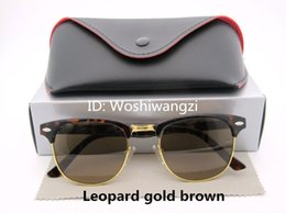 Wholesale Womens Polarized Sunglasses Designer - Designer Sunglasses Semi Rimless Sun Glasses For Mens Womens Leopard Gold Frame Black 51mm Glass Lenses With Cases