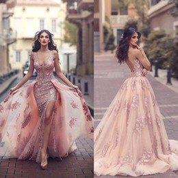 Wholesale Prom Dresses For Women - Sexy Lace Backless Prom Formal Dresses 2018 Berta Sheer Neck Sleeveless With Detachable Train Split Arabic Evening Occasion Gowns For Women