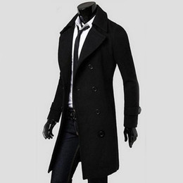 Wholesale Button Cool - Wholesale- 2016 Cool Men Double Breasted Overcoat Outwear Trench Coat Winter Long Jacket