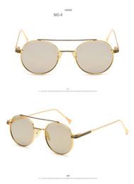 Wholesale Eyewear Glasses Nose - 2017 Luxury Retro Color Sunglasses Men And Women Brand Design Metal Nose Bridge Mirror Round Fashion 8 Colour Eyewear UV400 J30