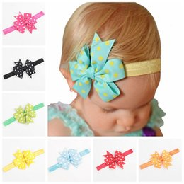 Wholesale Girls Dot Butterfly Knot - 24 Colors Dots Pattern Butterfly Knots Fairy Tiara Hair Bows Headband Hair Accessories Stretch Headbands Girl Accessories Hair