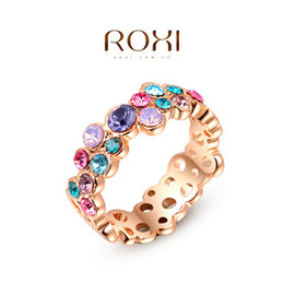 Wholesale Body Sets Brands - ROXI Brand CZ Colorful Ring for Women Classic Rose Gold And White Gold Plated Womens Wedding Party Finger Rings Body Jewelry