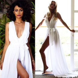 Wholesale Hot Girls Transparent - New Arrival hot selling Swimwear Dresses Sexy Ties Long Skirt Transparent Color Beach Dress For Women Girls