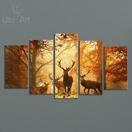 Wholesale Picture Frames Images - Modern Digital Picture Print on Canvas Animal Deer Custom Wall Frame Panels the Photo as 5 Parts Wall Art Images for Home Wall