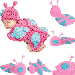 Wholesale Cute Baby Girls Knitting Suits - Fashion Newborn Baby Photo Props Outfit Infant Butterfly Knit Costume Newborn Set Cute Toddler Suit Crochet Hat