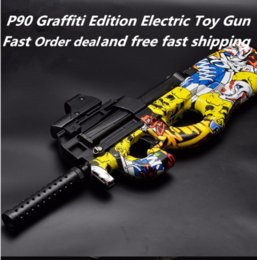 Wholesale Fun Shoots - P90 Graffiti Edition color Electric Shoot with bursts Water bullet Gun Outdoors gun toy Fun Toy For Kid