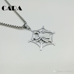 Wholesale Stylish Pendants For Men - CARA 2017 New Fashion jewelry necklace men 316 Stainless steel hip hop cobweb spider charm necklace for men stylish jewelry gift CARA0120