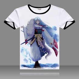 Wholesale Kikyou Cosplay - 2017 T-shirts Inuyasha Cosplay T Shirt Black O-Neck Short Sleeve Costumes Sesshoumaru Print Tops Kagome Kikyou Summer Tees
