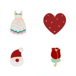 Wholesale Santa Christmas Dress For Women - Princess Dress Heart Rose Flower Santa Claus Enamel Brooches Pins for Women Fashion Cartoon Button Pins Badge Jewelry Christmas Gift