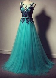 Wholesale Dress Bal Gown - 2017 Charming Scoop Neck A-line Long Prom Dresse Appliques Formal Prom Gowns Robe De Bal Party Dresses Evening Dresses