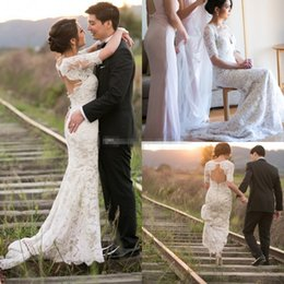 Wholesale Gold Bare - Gorgeous 2017 Full Lace Wedding Dresses with Half Sleeve Mermaid V-Neck Covered Button Bare Back Court Train Boho Vintage Bridal Gowns