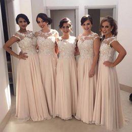Wholesale Bridemaid Dress Modest - Modest Plus Size Bridesmaid Dresses Long Formal Illusion Neck Capped Sleeveless Bridesmaids Dresses Floor Length Bridemaid Dresses Flowers