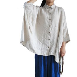 055960cf04 kimono batwing shirts UK - Women Shirts Loose Batwing Sleeve Vintage Autumn  Fashion Cotton Linen Top