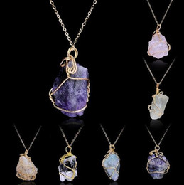 Wholesale Citrine Amethyst Jewelry - Handmade Irregular Amethyst Citrine Wire Wrapped Pendant Necklace Women Natural Stone Crystal Quartz Fluorite Necklaces Jewelry 12pcs