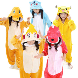 Wholesale Pajamas Teenage - Charmeleon Pikachu Monferno Charmander Bulbasaur Cosplay Kigurumis Children Halloween Carnival Mardi Gras Costumes Kids Onesie Pajamas