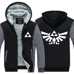 Wholesale anime jackets - High Quality The Legend of Zelda Link Men Thicken Hoodie Women Anime Zipper Coat Jacket Sweatshirt Cosplay Costume Plus Size