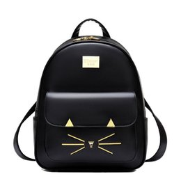 Wholesale Cute Backpacks For High School - 2017 New School Backpacks For Girls Pu Leather Embroidery Cat Cute Women Backpack School Bags High Quality Women Bag