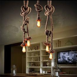 Wholesale Edison Style Light Bulbs - Retro Vintage Rope Pendant Light Lamp Loft Creative Personality Industrial Lamp Edison Bulb American Style For Living Room