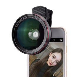 Wholesale 37mm Wide - 0.6X Wide Angle Lens with Clip 37mm Thread 10X Macro High Definition Mobile Phone Lens for IOS Android smartphone