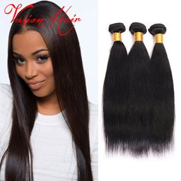 Wholesale Cheap Good Hair Extensions - Indian Peruvian Malaysian Brazilian Straight Hair Weaves 3Pcs Lot Good Cheap Mink Brazilian Virgin Straight Hair Extensions Natural Color