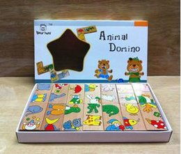 Wholesale Animal Dominoes - Wholesale- Free Shipping! Baby Toys Animal Domino Puzzles Early Learning Educational Toys Wooden Toy Baby Gift