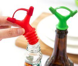 Wholesale Nozzle Oil - 20pcs lot Double Oil Bottle Mouth Stopper Plastic Sauce Bottles Nozzle Caps Wine Stopper Pour The Liquid Guiding Device KX 011