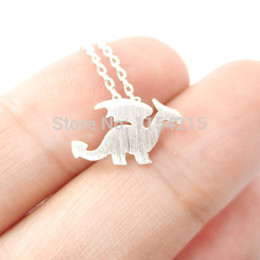 Wholesale Winged Dragon Pendants - Wholesale-2016 New Fashion Animal Jewelry Dragon with Wings Silhouette Shaped Animal Charm Necklace for Women EY-N134