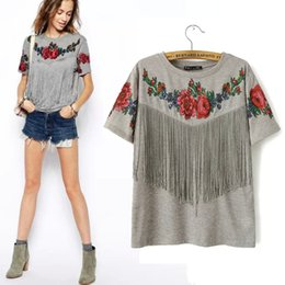 Wholesale Tribal Tassels Wholesale - Wholesale-2016 summer new Women wholesale short sleeve chest tassel fringed roses floral printed crew neck grey Tribal High Street t shirt