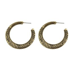 Wholesale Vintage Geometric Earrings - Vintage Ethnic Style Antique Gold-Color Silver Color With Geometric Pattern Hoop Earrings Accessories For Women