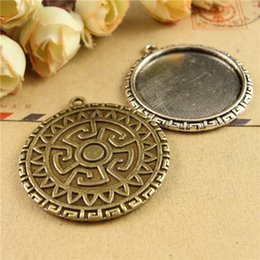 Wholesale Silver Cabochon Pendant Settings - 31*34MM Fit 30MM round metal stamping blank tray, vintage antique bronze pendant base, tibetan silver plated bezel cameo cabochon setting