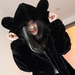 Wholesale Ear Fur Coats - -30 C Fit Winter Warm Rabbit Ears hat faux fur Waist Long Imitate fur Loose Woman coats jacket women Solid color Black femme