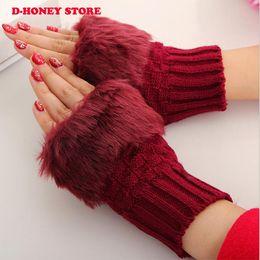 Wholesale Ladies Gloves Fingerless Wholesale - 2016 Fashion Style Ladies Knitted Fingerless Winter Thermal Warm Hand Warmer Faux Rabbit Fur Mittens Luvas Gloves women
