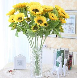 Wholesale beautiful design homes - 3heads bouquet Beautiful Design New Artificial Sunflower Silk Flowers Home Office Garden Decor Party Decoration SH003