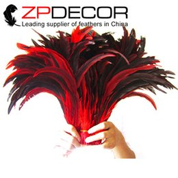 Wholesale 16 Inch Feathers - ZPDECOR Good Selling Feathers35-40cm(14-16 inch) Top Quality Dyed Half Brozen Red Rooster Tail Feathers for Bulk Sale
