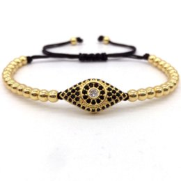 Wholesale macrame style bracelets - Hot Brand Classic Style Micro Pave CZ Eye &4MM Beads Braided Macrame Bracelets & Bangles Jewelry For Men