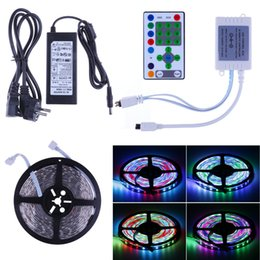 Wholesale Lighting 12 V Dc - 5M SMD 5050 270LEDs IP65 Waterproof Horse Race RGB LED Strip lighting + 25 keys IR Remote Controller + 12 V 5A Power Adapter