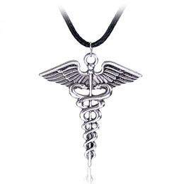 Wholesale Wholesale Nurse Gifts - Wholesale-Silver Plated Medical Symbol Nurse Doctor Pendant Caduceus Necklace Snakes Wings Necklace Nurse Day Gifts