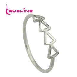 Wholesale Gothic Punk Fashion Accessories - Rock Gothic Jewelry Gold Silver Black Color Distinctive Minimalist Triangle Punk Rings Female Fashion Jewelry Accessories