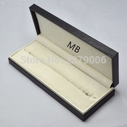 Wholesale leather pen boxes - Wholesale- High Quality design MB brand Black wood leather Pen Box Suit For Fountain Pen   Ballpoint Pen   Roller Ball Pens Pencil Case
