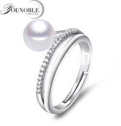Wholesale Size Rings Women - Freshwater preal ring 8-9mm sterling silver 925 jewelry,real natural pearl rings for women adjust size anniversary birthday best gift