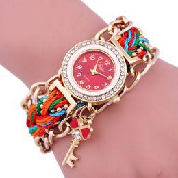 Wholesale Heart Ceramic Watch - 2016 New Folk Style Ladies Watch Diamond key pendant chains braided quartz watch explosion models